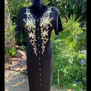 Woman's Carole Little Black and gold knit dress